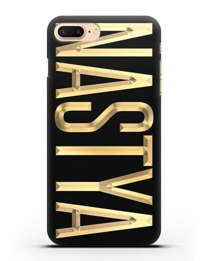 Чехол с именем, фамилией с золотой надписью силикон черный для iPhone 7 Plus