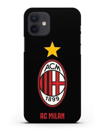 Чехол с логотипом АС MILAN силикон черный для iPhone 12