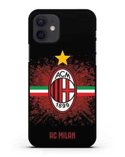 Чехол с эмблемой ФК Милан силикон черный для iPhone 12