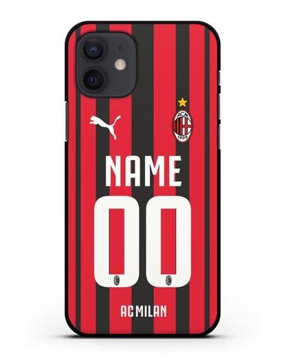 Именной чехол ФК Милан с фамилией и номером (сезон 2021-2022) домашняя форма силикон черный для iPhone 12