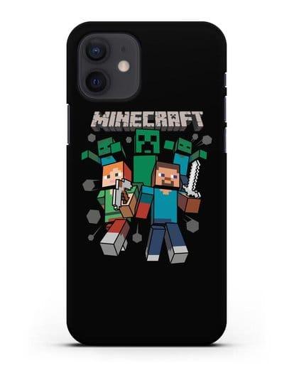 Чехол с рисунком Minecraft силикон черный для iPhone 12