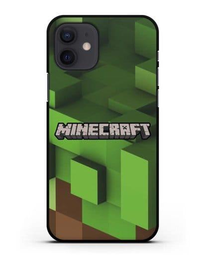 Чехол с изображением Minecraft силикон черный для iPhone 12