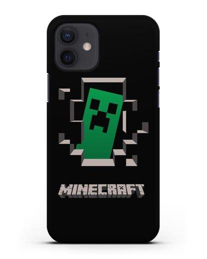 Чехол с крипером и надписью Minecraft силикон черный для iPhone 12