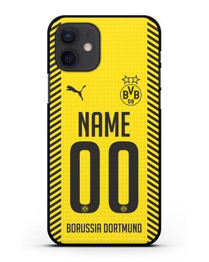 Именной чехол ФК Боруссия Дортмунд с фамилией и номером (сезон 2021-2022) домашняя форма силикон черный для iPhone 12