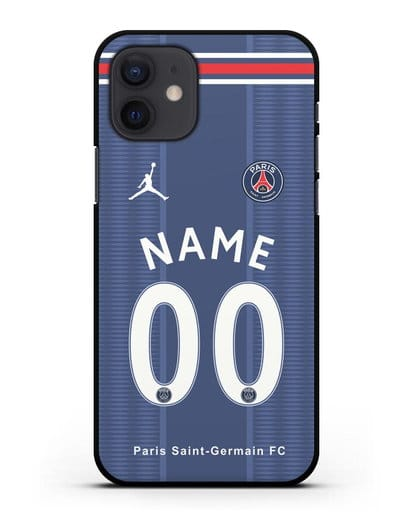 Именной чехол Paris Saint-Germain с фамилией и номером (сезон 2021-2022) домашняя форма силикон черный для iPhone 12
