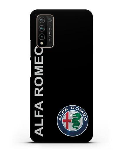 Чехол с надписью Alfa Romeo и логотипом силикон черный для Honor 10X Lite