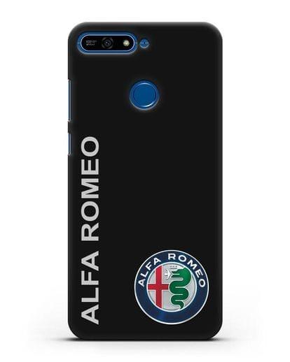 Чехол с надписью Alfa Romeo и логотипом силикон черный для Honor 7А Pro