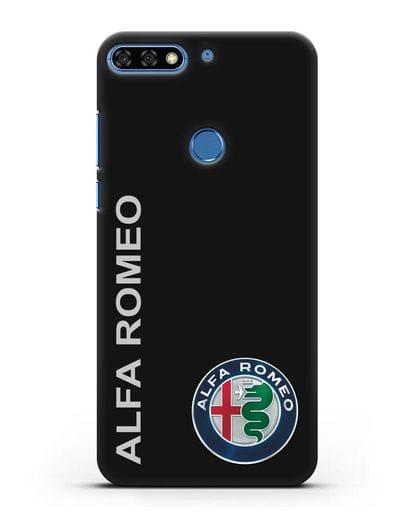 Чехол с надписью Alfa Romeo и логотипом силикон черный для Honor 7C Pro