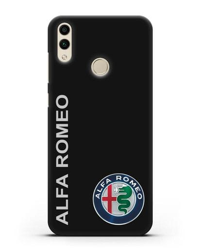 Чехол с надписью Alfa Romeo и логотипом силикон черный для Honor 8C