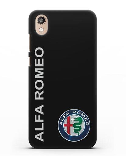 Чехол с надписью Alfa Romeo и логотипом силикон черный для Honor 8S