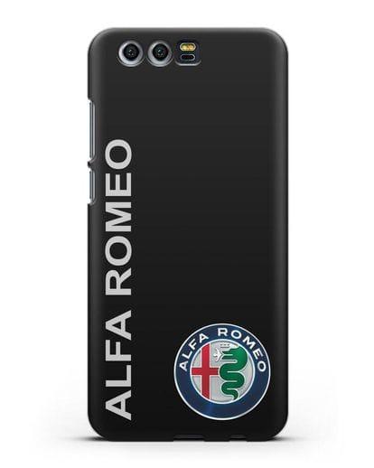 Чехол с надписью Alfa Romeo и логотипом силикон черный для Honor 9