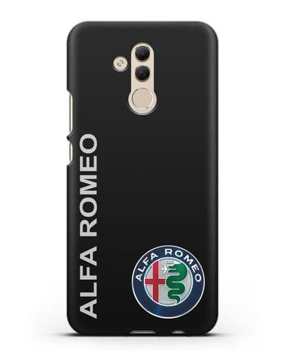 Чехол с надписью Alfa Romeo и логотипом силикон черный для Huawei Mate 20 Lite