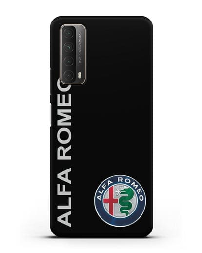 Чехол с надписью Alfa Romeo и логотипом силикон черный для Huawei P Smart 2021