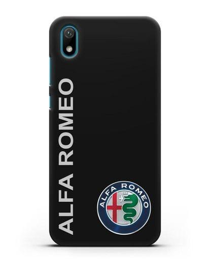 Чехол с надписью Alfa Romeo и логотипом силикон черный для Huawei Y5 2019