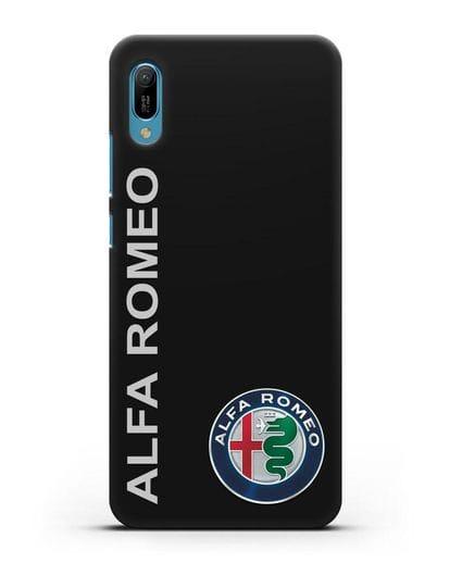 Чехол с надписью Alfa Romeo и логотипом силикон черный для Huawei Y6 2019