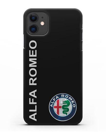 Чехол с надписью Alfa Romeo и логотипом силикон черный для iPhone 11