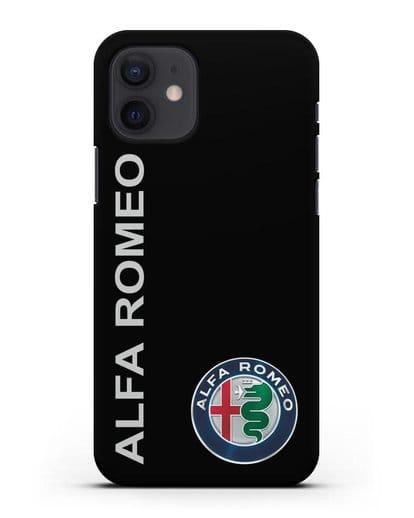Чехол с надписью Alfa Romeo и логотипом силикон черный для iPhone 12