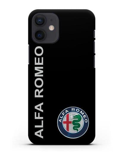 Чехол с надписью Alfa Romeo и логотипом силикон черный для iPhone 12 mini
