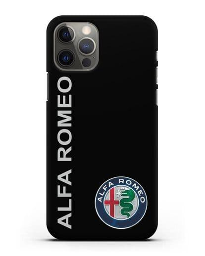 Чехол с надписью Alfa Romeo и логотипом силикон черный для iPhone 12 Pro