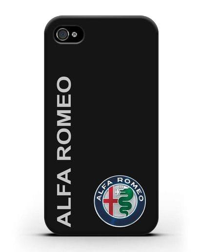 Чехол с надписью Alfa Romeo и логотипом силикон черный для iPhone 4/4s