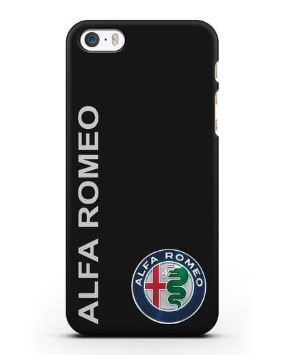 Чехол с надписью Alfa Romeo и логотипом силикон черный для iPhone 5/5s/SE