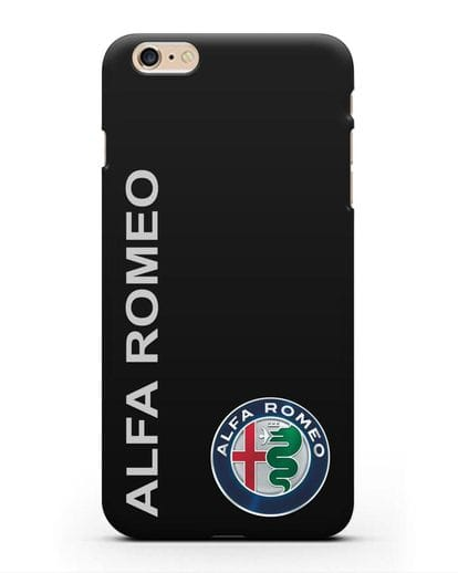 Чехол с надписью Alfa Romeo и логотипом силикон черный для iPhone 6 Plus