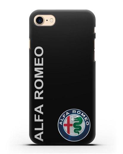 Чехол с надписью Alfa Romeo и логотипом силикон черный для iPhone 8