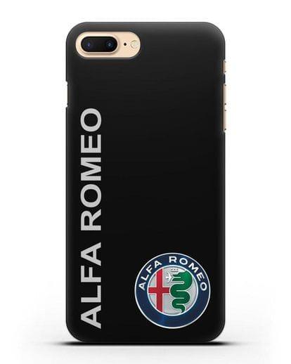Чехол с надписью Alfa Romeo и логотипом силикон черный для iPhone 7 Plus