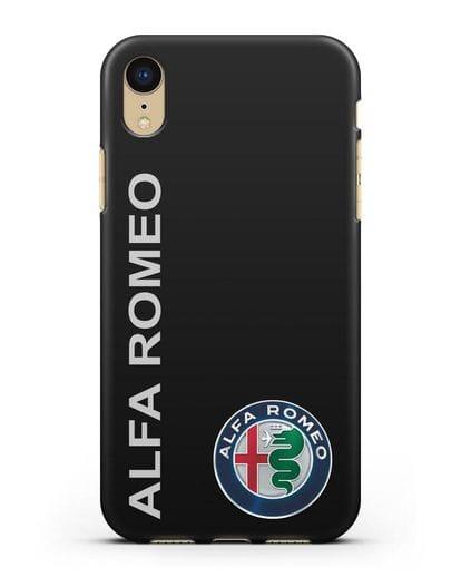 Чехол с надписью Alfa Romeo и логотипом силикон черный для iPhone XR