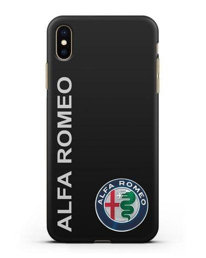 Чехол с надписью Alfa Romeo и логотипом силикон черный для iPhone XS Max
