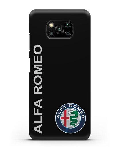 Чехол с надписью Alfa Romeo и логотипом силикон черный для Xiaomi Poco X3 Pro