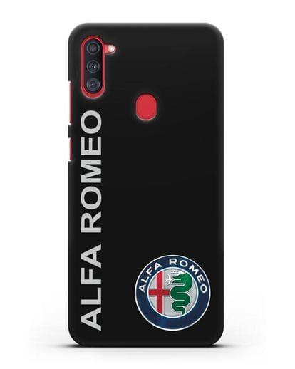 Чехол с надписью Alfa Romeo и логотипом силикон черный для Samsung Galaxy A11 [SM-A115F]