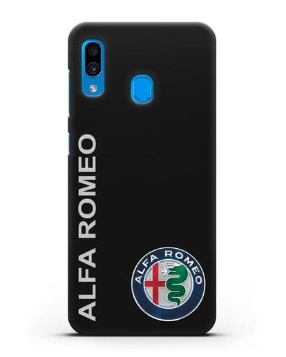 Чехол с надписью Alfa Romeo и логотипом силикон черный для Samsung Galaxy A30 [SM-A305FN]