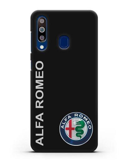 Чехол с надписью Alfa Romeo и логотипом силикон черный для Samsung Galaxy A60 [SM-A606F]
