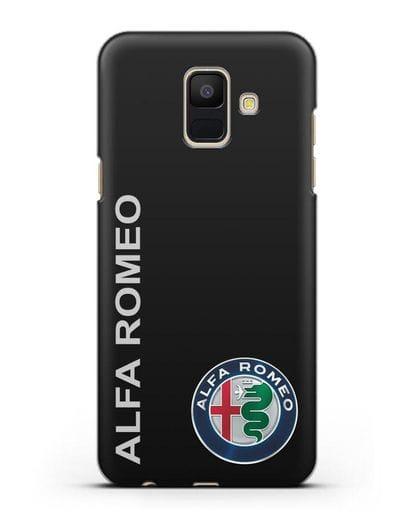 Чехол с надписью Alfa Romeo и логотипом силикон черный для Samsung Galaxy A6 2018 [SM-A600F]