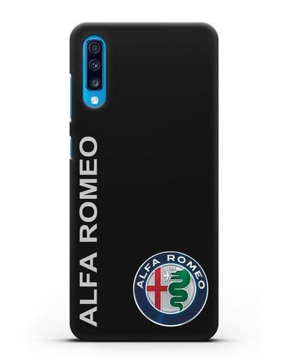 Чехол с надписью Alfa Romeo и логотипом силикон черный для Samsung Galaxy A70 [SM-A705F]