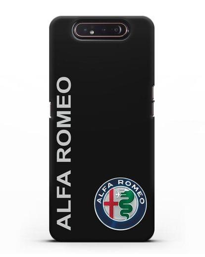 Чехол с надписью Alfa Romeo и логотипом силикон черный для Samsung Galaxy A80 [SM-A805F]