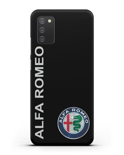 Чехол с надписью Alfa Romeo и логотипом силикон черный для Samsung Galaxy A02s [SM-A025F]