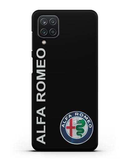 Чехол с надписью Alfa Romeo и логотипом силикон черный для Samsung Galaxy A12 [SM-A125F]