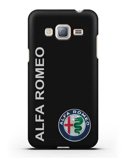 Чехол с надписью Alfa Romeo и логотипом силикон черный для Samsung Galaxy J3 2016 [SM-J320F]