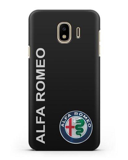 Чехол с надписью Alfa Romeo и логотипом силикон черный для Samsung Galaxy J4 2018 [SM-J400F]