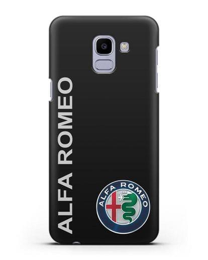 Чехол с надписью Alfa Romeo и логотипом силикон черный для Samsung Galaxy J6 2018 [SM-J600F]
