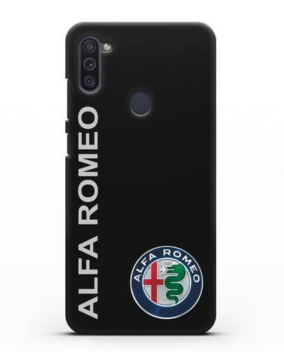 Чехол с надписью Alfa Romeo и логотипом силикон черный для Samsung Galaxy M11 [SM-M115F]