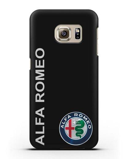 Чехол с надписью Alfa Romeo и логотипом силикон черный для Samsung Galaxy S6 [SM-G920F]
