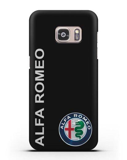 Чехол с надписью Alfa Romeo и логотипом силикон черный для Samsung Galaxy S7 Edge [SM-G935F]