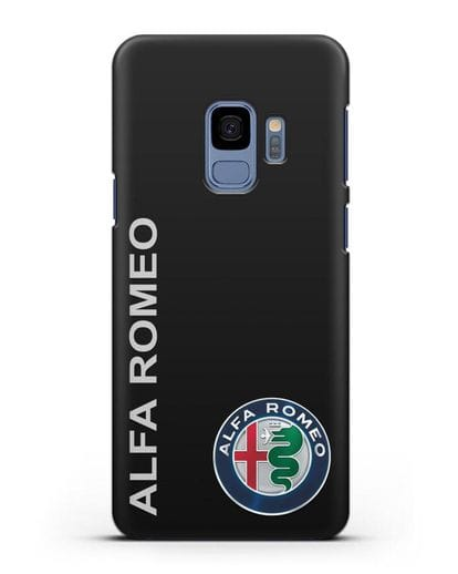 Чехол с надписью Alfa Romeo и логотипом силикон черный для Samsung Galaxy S9 [SM-G960F]
