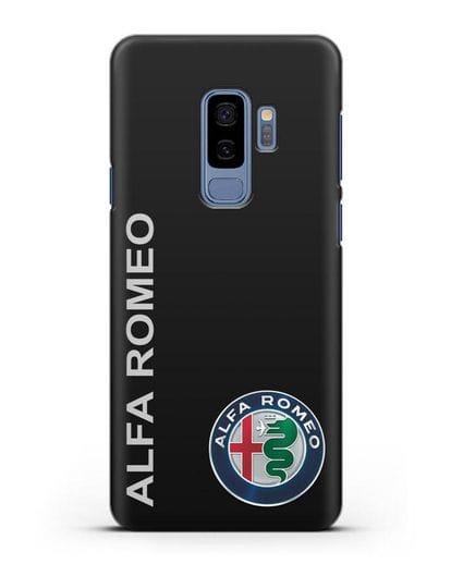 Чехол с надписью Alfa Romeo и логотипом силикон черный для Samsung Galaxy S9 Plus [SM-G965F]