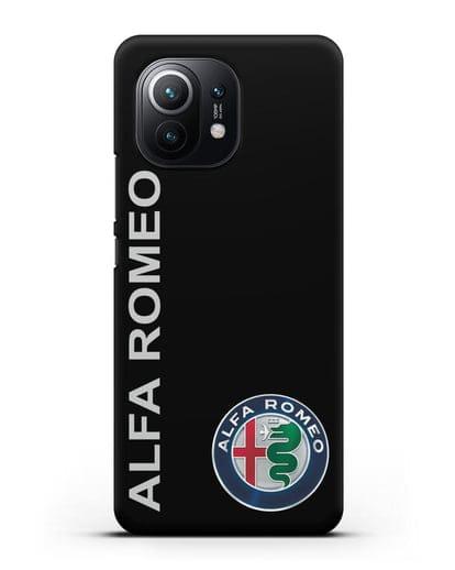Чехол с надписью Alfa Romeo и логотипом силикон черный для Xiaomi Mi 11