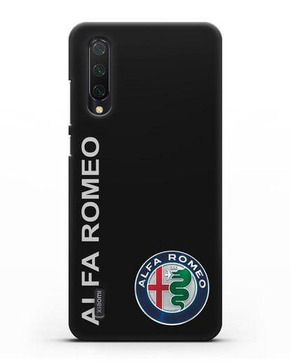 Чехол с надписью Alfa Romeo и логотипом силикон черный для Xiaomi Mi 9 Lite