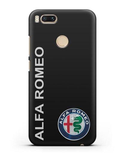 Чехол с надписью Alfa Romeo и логотипом силикон черный для Xiaomi Mi A1